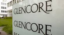 The logo of Glencore is seen in front of the company's headquarters in the Swiss town of Zug May 9, 2012. (Arnd Wiegmann/Reuters)