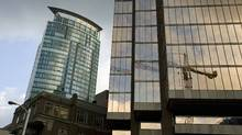 Glass-faced buildings in downtown Vancouver. (Jeff Vinnick for The Globe and Mail)
