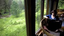 Alison Pick reads the sunroom of her cabin in Flesherton, Ont. (Michelle Siu / The Globe and Mail)