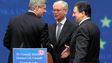 Prime Minister Stephen Harper, European Council President Herman Van Rompuy and EU Commission President Jose Manuel Barroso leave a news conference after their meeting at the EU Council in Brussels May 5, 2010. (FRANCOIS LENOIR/FRANCOIS LENOIR/REUTERS)