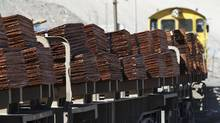 A train carrying copper cathodes leaves the Chuquicamata mine and foundry in Chile. (IVAN ALVARADO/REUTERS)