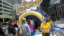 Crowds check out a Kraft Dinner 'KD Fun Shop' in downtown Toronto on Wednesday. (Kevin Van Paassen For The Globe and Mail)