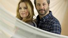 "Director, Judd Apatow and actress, Leslie Mann, husband and wife, from the film ""This is 40,"" photographed following an interview at the Ritz-Carlton in Toronto on Nov. 27, 2012. (Peter Power/The Globe and Mail)"