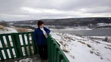 Fort St. John Mayor Lori Ackerman stands at a look out point for the Peace River in an area that would be severely flooded by the proposed Site C Hydro Development Dam near Fort St. John on January 16, 2013. Hearings on the project start Dec. 9 in Fort St. John. (Deborah Baic/The Globe and Mail)