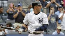 New York Yankees batter Derek Jeter stands at the plate for his first at-bat against the Kansas City Royals in the first inning of their MLB American League baseball game at Yankee Stadium in New York, July 11, 2013. (Reuters)