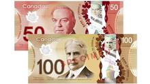 The first bills to go plastic will be the $100 notes in November, 2011. The $50 notes will follow next March 2012. The rest of the plastic money will be in circulation by the end of 2013. The polymer bank notes have security features that make them harder to fake than paper money. (Bank of Canada/Bank of Canada)