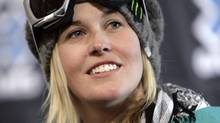 Skier Sarah Burke of Canada looks on during a news conference at the Winter X Games on Wednesday, Jan. 21, 2009. (Nathan Bilow/The Canadian Press)