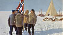Amundsen and four others in the south pole expedition planted the Norwegian flag at the South Pole. The moment was later pictured on this postcard. (Artist: Andreas Bloch; Printer: Mittet & Co./National Library/Artist: Andreas Bloch; Printer: Mittet & Co./National Library)