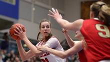 McGill Martlets' Alex Kiss-Rusk looks for an opening against Laval Rouge et Or during the first half of the gold medal game at the USports Women's Basketball Championship in Victoria, B.C., on March 12, 2017. (CHAD HIPOLITO/THE CANADIAN PRESS)
