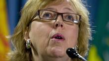 Green Party Leader Elizabeth May speaks at a news conference in Ottawa on Tuesday, Oct.21, 2008.