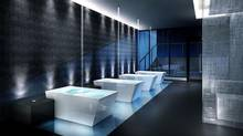 Developers of Noir went with a series of individual hot tubs, massage beds and water walls for residents looking to unwind, instead of a pool. On Site, Noir. Spa.