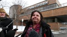 Ottawa Sun columnist Sue Sherring comments about the Postmedia laid off Jan. 19, 2016 in Ottawa. (Dave Chan for The Globe and Mail)