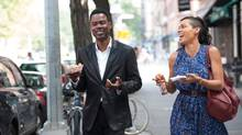 Chris Rock, left, portrays worried comedic actor Andre Allen and Rosario Dawson plays Chelsea Brown with watchable depth in Top Five, which is also written and directed by Rock. (Photo credit: Ali Paige Goldstei/Ali Paige Goldstein)