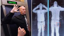 This file combination of images taken on October 13, 2009 shows an airport staff member demonstrating a full body scan at Manchester Airport in Manchester, northwest England, and a computer screen showing the results of a full body scan. (Paul Ellis/AFP/Getty Images)