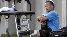 Oscar Pistorius of South Africa trains before an event in Lignano Sabbiadoro, Italy on July 17. (ALESSANDRO GAROFALO/REUTERS)