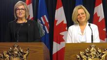 One-time Conservative leadership hopeful Sandra Jansen, left, announced on Thursday that she was joining the Rachel Notley New Democrats, a move that elicited scorn from constituents. (Dean Bennett/THE CANADIAN PRESS)