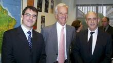 Jorge Paulo Lemann, centre, poses during the inauguration of The Lemann Institute for Brazilian Studies at Illinois, in Champaign, Ill., in this handout photo taken in October, 2009. Mr. Lemann has added more than $1-billion (U.S.) to his fortune from the recent Burger King-Tim Hortons deal. (Fundacao Lemann via Bloomberg)