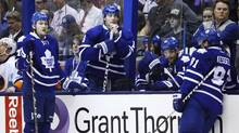 Toronto Maple Leafs (L-R) James van Riemsdyk, Joffrey Lupul, Clarke MacArthur, and Phil Kessel look on during a break in play against the New York Islanders during the third period of their NHL hockey game in Toronto, April 18, 2013. (MARK BLINCH/REUTERS)