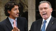 Liberal MP Justin Trudeau and Environment Minister Peter Kent spar during Question Period in a Nov. 21, 2011 photo combination. (The Canadian Press)