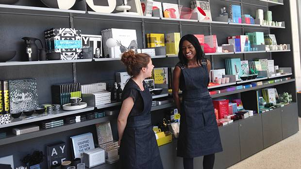 The Design Museum commissioned London-based Uniform Studio to create updated aprons for its gift shop staff.
