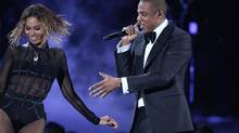 "Beyonce, left, and Jay-Z perform ""Drunk in Love"" at the 56th annual Grammy Awards at Staples Center on Sunday, Jan. 26, 2014, in Los Angeles (Matt Sayles/Invision/AP)"