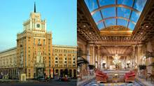 Moscow's Pekin Hotel, left, and the Copley Plaza in Boston. Both are being renovated by Fairmont Hotels. (Fairmont Hotels/Fairmont Hotels)