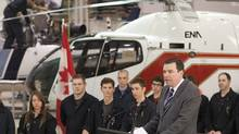 Federal Industry Minister Christian Paradis announces a review of federal aerospace and space policies on Monday at an aerospace school in Longueuil, Que. (Ryan Remiorz/THE CANADIAN PRESS)