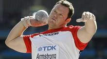 Canada's Dylan Armstrong competes in Men's Shot Put qualifying during the World Athletics Championships in Berlin on Saturday, Aug. 15, 2009 (Associated Press)