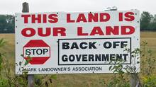 A Lanark Landowner's Association sign sits on Randy Hillier's farm near Perth, Ont., on Oct. 10, 2007, before he won a seat for the provincial Progressive Conservatives. (Roy MacGregor/Roy MacGregor/The Globe and Mail)