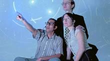 From left, Ravi Jain, Troels Hagen Findsen and Katrina Bugaj in Why Not Theatre's I'm So Close. (Mina Mikhail)