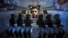 Student Raymond Wang is pictured next to his 3D printed air circulation invention at his parents home in Vancouver. (Ben Nelms/The Globe and Mail)