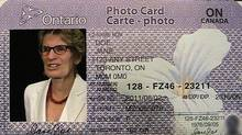 Ontario Transportation Minister Kathleen Wynne poses in a template for a new Ontario photo identification card at the legislature in Toronto, Thursday, June 9, 2011. (Maria Babbage/The Canadian Press/Maria Babbage/The Canadian Press)