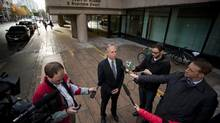 B.C.T.F president Jim Iker speaks to media before heading into the B.C Court of Appeal in Vancouver, British Columbia on October 14, 2014. (Ben Nelms for The Globe & Mail)