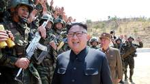 North Korean Leader Kim Jong Un attends a target-striking contest by the Korean People's Army (KPA) in this undated photo, released by North Korea's Korean Central News Agency (KCNA) on April 13, 2017. (KCNA/Reuters)