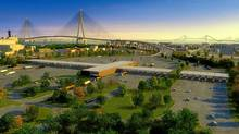 An artist rendering of the Detroit River International Crossing project.