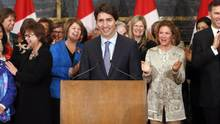 Prime Minister Justin Trudeau takes part in celebrating International Women's Day in Ottawa, Tuesday, March 8, 2016. A new report from the United Nations is calling on Canada to get to work on a number of barriers still facing women when it comes to gender equality. (FRED CHARTRAND/THE CANADIAN PRESS)