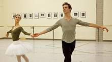 Evan McKie and Greta Hodgkinson in rehearsal for The Sleeping Beauty. (Bruce Zinger)