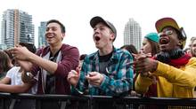 The crowd cheers on a band at Field Trip, a two-day summer festival in Toronto. (Lucia Graca)