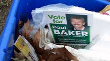 A photo taken by a Toronto resident shows Green Party fliers in a trash bin on April 22, 2011. (Orla Hegarty)