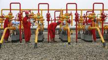 Workers check the pipelines at a PetroChina oil field on the outskirts of Guang'an, Sichuan province, in this file photo. (REUTERS)