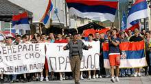 Approximately 2,000 Bosnian Serbs, mostly youths, gathered in Pale near Sarajevo, on May 27, 2011, to show support and anger after the arrest of Bosnian Serb wartime miltary leader, General Ratko Mladic. (Elevis Barukcic/AFP/Getty Images/Elevis Barukcic/AFP/Getty Images)