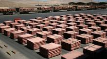Sheets of copper cathode are seen at the copper cathode plant inside the Escondida copper mine near Antofagasta, Chile, in 2008. (Ivan Alvarado/Reuters/Ivan Alvarado/Reuters)