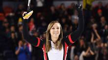 Ontario skip Rachel Homan celebrates after defeating Manitoba in the gold medal match at the Scotties Tournament of Hearts on Feb. 26, 2017. (Sean Kilpatrick/CP)