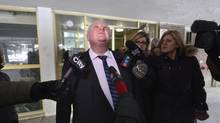 After receiving a complaint from a resident, Toronto Mayor Rob Ford toured an apartment building at 40 Stevenson Rd. in the city's northwest area on Jan. 24 2014. The mayor stopped on all floors and was accompanied by a member of the Toronto Fire Services. (Fred Lum/The Globe and Mail)