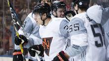 Team North America's Auston Matthews celebrates his goal with teammates against Sweden during first period World Cup of Hockey action in Toronto, Wednesday September 21, 2016. (Mark Blinch/THE CANADIAN PRESS)