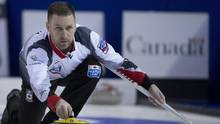 Canada skip Brad Gushue makes a shot during the 7th draw against Scotland at the Men's World Curling Championships in Edmonton, Monday, April 3, 2017. (JONATHAN HAYWARD/THE CANADIAN PRESS)