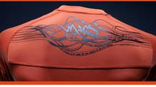 A look at the back of Olympique Marseille's new black-and-orange alternate jersey.