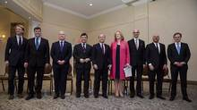 Conservative leadership candidates, from left, Chris Alexander, Pierre Lemieux, Erin O'Toole, Michael Chong, Rick Peterson, Lisa Raitt, Steven Blaney, Kevin O'Leary and Andrew Saxton each spoke to members and supporters at a meet and greet in Burlington, Ont., on Sunday, March 5, 2017. On May 27, Conservative party members will choose a new leader. (Christopher Katsarov/THE CANADIAN PRESS)