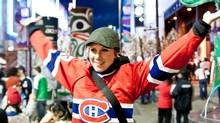"""Brittney Kwasney sent us this photo. She writes, """"I've been wearing this Patrick Roy jersey around since I was 10 years old, and what better a night than to wear it downtown Vancouver after Cananda won gold! Let's go Habs!"""" (Brittney Kwasney/Brittney Kwasney)"""
