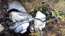 An engine nacelle, part of the wreckage of a Cessna Citation which crashed on Thursday, is seen in the woods near Lake Country, B.C., in this Transportation Safety Board handout image. The aircraft crashed shortly after takeoff, killing the pilot and all three passengers aboard, including the former Alberta Premier Jim Prentice. (THE CANADIAN PRESS/HO-TSB)